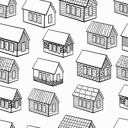 wooden houses: seamless pattern of wooden houses and brick, stone graphics. vector illustration Illustration