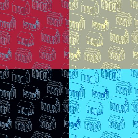 wooden houses: set of seamless pattern and of wooden houses brick, stone graphics vector illustration