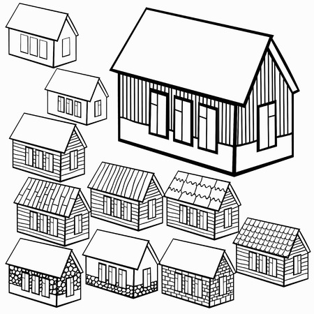 wooden houses: set of wooden houses and brick, stone graphics vector illustration