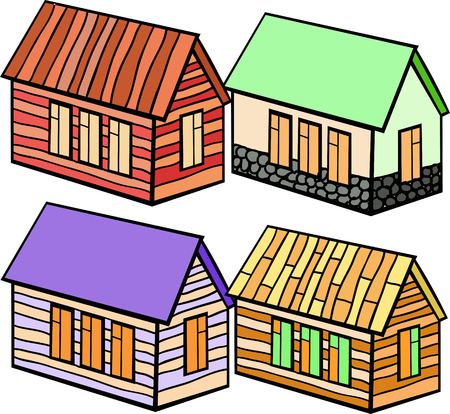wooden houses: set of wooden houses and stone cartoon vector illustration