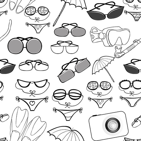skin diving: seamless pattern of the goods for a beach holiday vector illustration Illustration