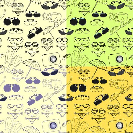 skin diving: set seamless pattern catalog for a beach vacation at sea vector illustration