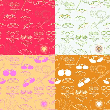 skin diving: set seamless pattern of goods for a beach holiday at sea vector illustration