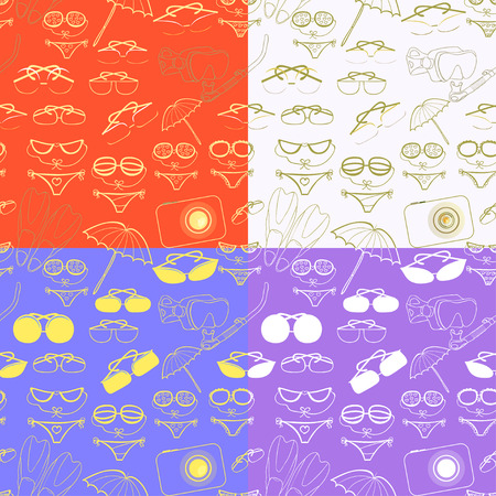skin diving: set seamless pattern of goods for a beach relaxation at sea vector illustration Illustration