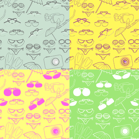 skin diving: set seamless pattern of goods for a holiday at sea vector illustration