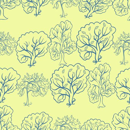 backlit: Coloring seamless pattern an apple tree on a yellow background vector illustration