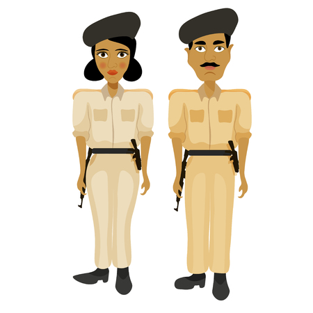 bronzed: India couple woman police officers and a policeman vector illustration Illustration