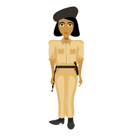 India policemen woman with a bob hair vector illustration