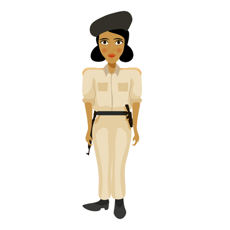 bronzed: India young policemen woman with a blush vector illustration
