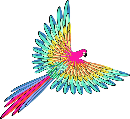 Caribbean blue the parrot flying vector illustration