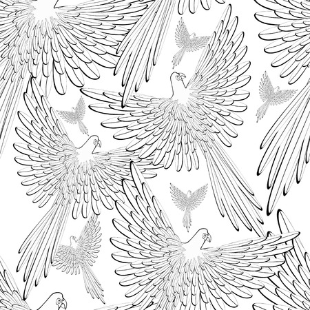 caribbean: coloring of seamless pattern Red the Caribbean parrot flying vector illustration