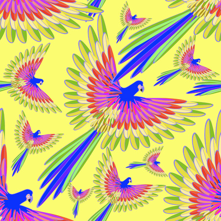 seamless pattern blue the Caribbean parrot fly.vector illustration