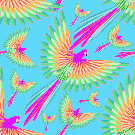 parakeet: seamless pattern of the Caribbean parrot flying on a background of the sky vector illustration