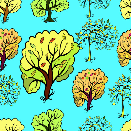 seamless pattern bush and trees, an apple tree vector illyustration Illustration