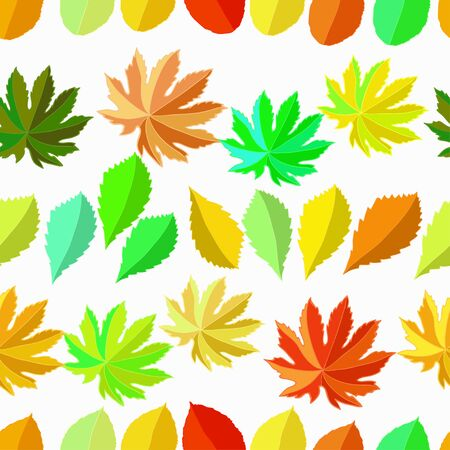 seamless pattern with leaves on white vector illustration
