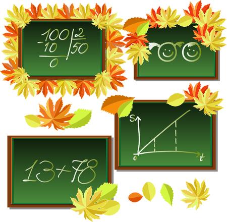 alder: set of blackboards with autumn leaves vector illustration