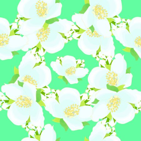 seamless pattern - grid with jasmine on a green background vector illustration