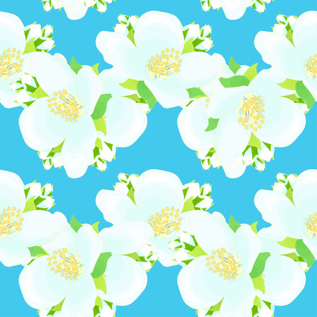 seamless pattern - zigzag with jasmine on a blue background vector illustration