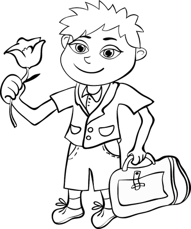 schooldays: Coloring with the pupil of the first class the boy vector illustration