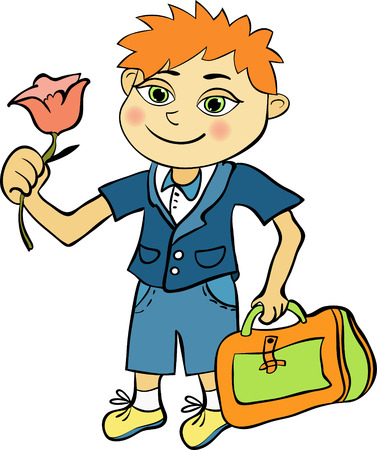 first year student: pupil of the first class of red-haired boy vector illustration Illustration
