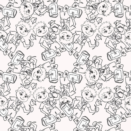 scholastic: seamless pattern Coloring chaotic with a student of the first class boy vector illustration