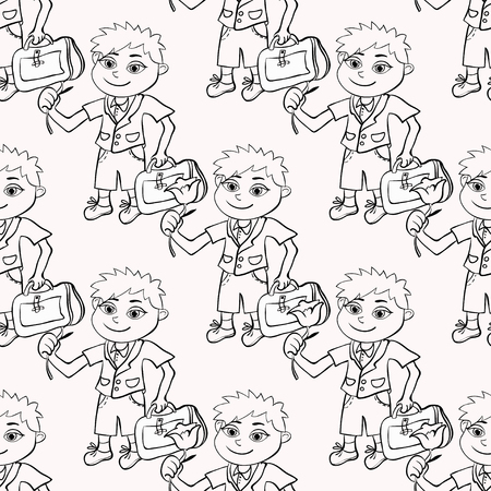 schooldays: seamless pattern coloring with the pupil of the first class the boy vector illustration