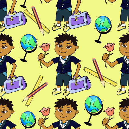 scholastic: seamless pattern with a first-class pupil of boy and globe on a yellow background vector illustration