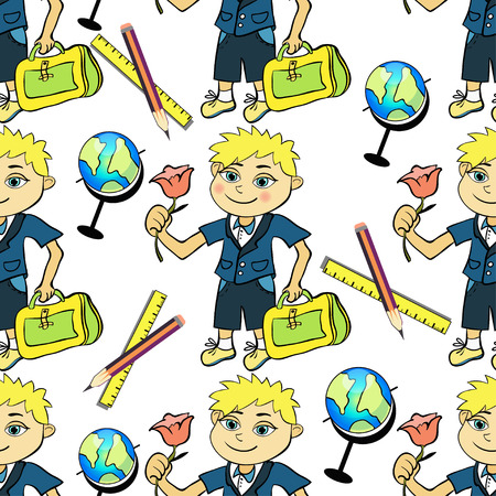 schooldays: seamless pattern with a student of the first class boy and globe vector illustration