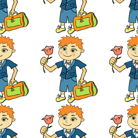 schooldays: seamless pattern with a student of the first class boy vector illustration Illustration