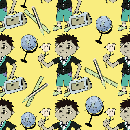 schooldays: seamless pattern with a student of the first class of a boy and a globe and a pencil vector illustration