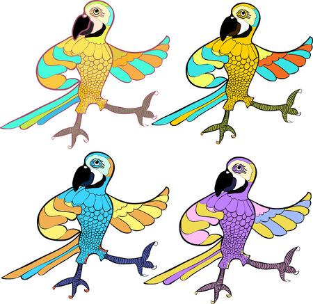 caribbean: gold set with dancing fun Caribbean parrot vector illustration