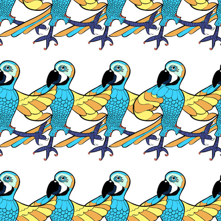 parakeet: seamless pattern with blue dancing cheerful Caribbean parrot vector illustration Illustration