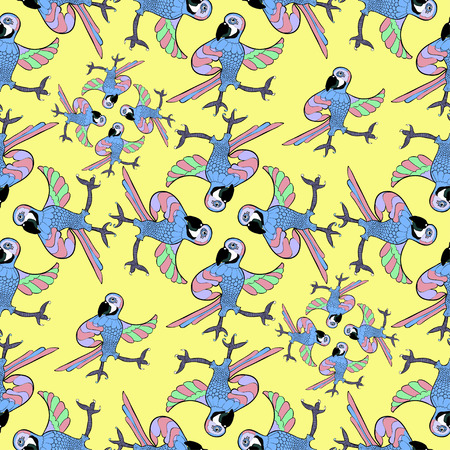 caribbean: seamless pattern with dancing fun Caribbean parrot on a yellow background vector illustration