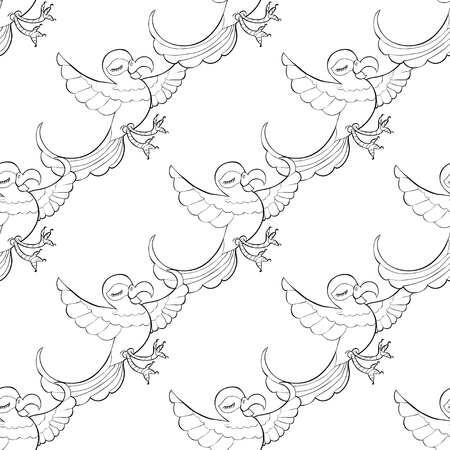 caribbean: seamless pattern coloring fun with a Caribbean dancing parrot vector illustration