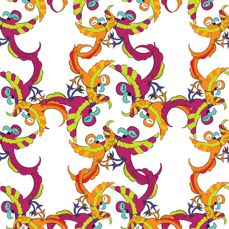 caribbean party: seamless pattern grid with Caribbean cheerful dancing parrot vector illustration