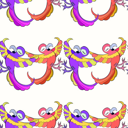 caribbean: Seamless pattern with funny dances Caribbean couple of parrots vector illustration