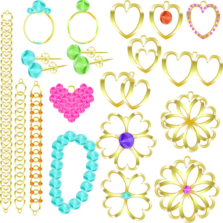 earrings: jewelry set of gold rings, chains, earrings, necklaces, pendants vector illustration Illustration