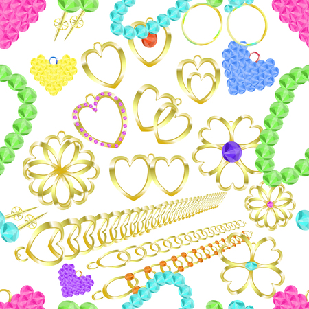 ring ruby: seamless pattern of gold jewelry rings, necklaces, catkins, amulets, pendants vector illustration