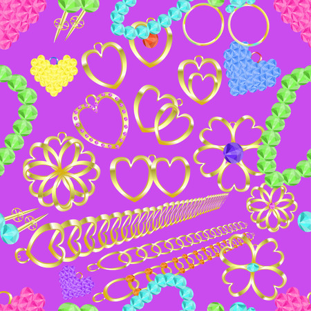 ring ruby: seamless pattern of gold jewelry rings, necklaces, catkins, charms, pendants on a purple background vector illustration