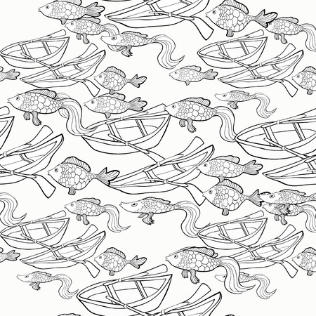 fish net: seamless pattern Coloring boat, fish net vector illustration