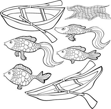 fish net: Set Coloring boat, fish net vector illustration