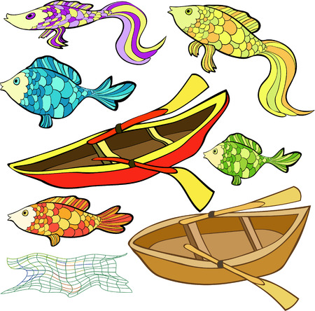 set the boat, fish, net vector illustration