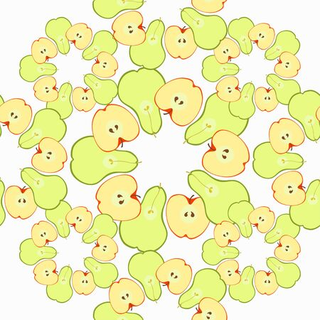 insides: Seamless pattern with apples and pears in sliced vector illustration