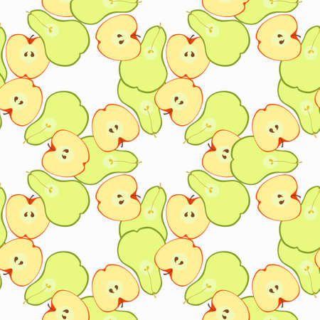 insides: Seamless pattern with apples and pears in the section vector illustration