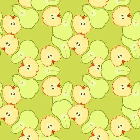 insides: Seamless pattern with apples and pears in a cut on a green background vector illustration Illustration