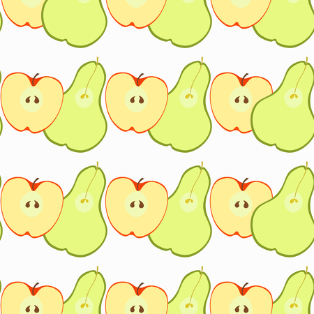 pears: Seamless pattern with apples and pears vector illustration