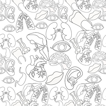 gallbladder surgery: Coloring seamless pattern of human organs in the body and face vector illustration