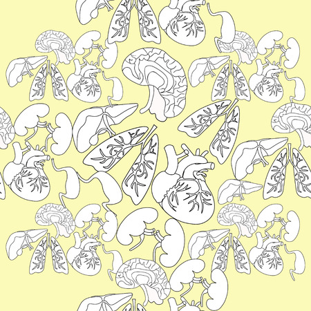 gallbladder surgery: Coloring seamless pattern of human organs inside the body on a yellow background vector illustration