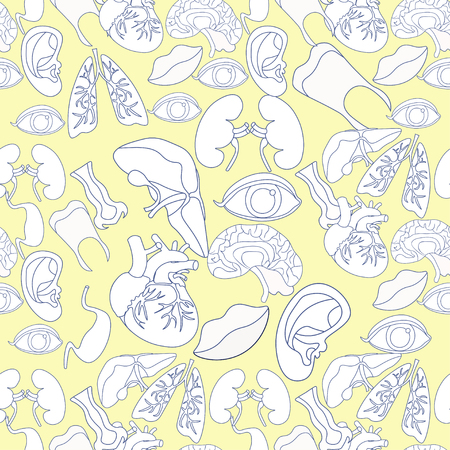 gallbladder surgery: Coloring seamless pattern with human heart organ, lungs, brain, spleen, eyes, ears, mouth vector illustration