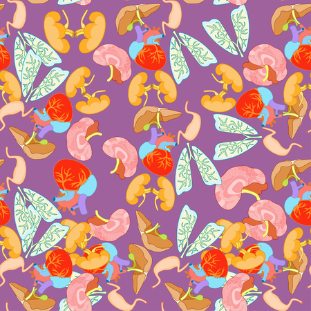 gallbladder surgery: seamless pattern of human organs inside the body on a purple background vector illustration